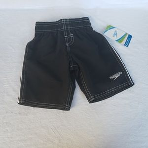 Boys black & white Speedo swim shorts sz 2T